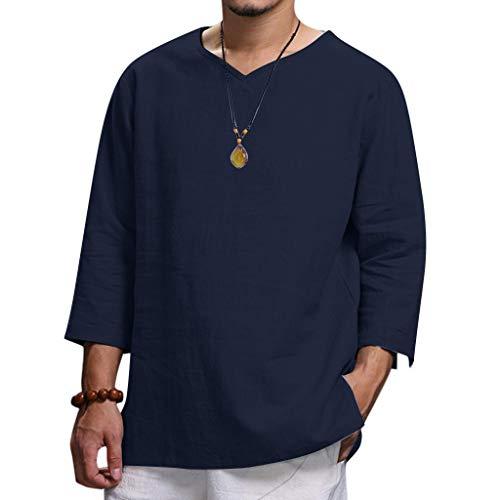 Sleepshirt Aus Reiner Baumwolle (LILICAT Shirts Herren Sommer Top aus Reiner Baumwolle und Hanf Bequemes Tops Laufshirt Kurzarm Atmungsaktiv Sportshirt Männer T-Shirt für Running Jogging Fitness Gym Shirts)