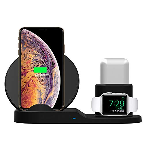 Mandarooker Compatibile 3 in 1 Caricabatterie wireless QI Ricarica wireless Dock Station di ricambio per Apple Watch Series 4/3/2/1, iPhone Xs / XS MAX / XR / X / 8/8 Plus, AirPods (N30)