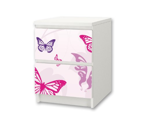 Stikkipix Butterfly Möbelsticker/Aufkleber für Kinderzimmer Kommode/Nachttisch MALM von IKEA - NS01 - Möbel Nicht Inklusive