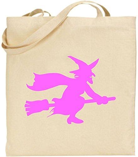 auf Besen Stick Halloween Scary Trick treat Spooky wiederverwendbar Umweltfreundlich Einkaufstasche waschbar Tragetasche für Frauen (Machen Trick Oder Treat Taschen)