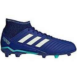 adidas Predator 18.3 FG J Suelo duro Niño 36 bota de fútbol - Botas de fútbol (Suelo duro, Niño, Masculino, Suela con tacos, Azul, Blanco, Monótono)