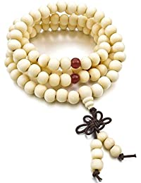 Budismo Pulsera - TOOGOO(R)8mm Madera Pulsera Brazalete Collar Tibetano Blanco Sandalo 108pcs Bead Oracion Budismo Budista Hombre,Mujer