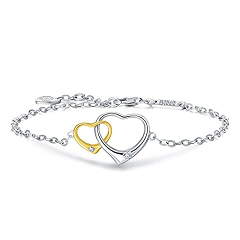 Billie Bijoux 925 Sterling Silver Gold Plated Double Open Heart
