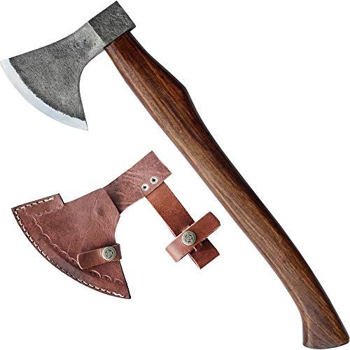 MM24 urige Axt für Mittelalter Lager zum Holz hacken mit Lederschutz 875g (Lagerfeuer Kostüm)