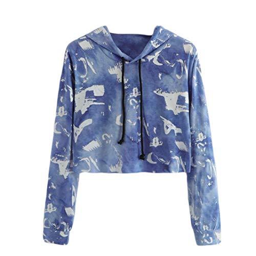 Ningsun moda da donna manica lunga stampa cappuccio girocollo felpa camicetta pullover eleganti sweatshirt hoodies corto felpa con cappuccio/felpe tumblr ragazza hoody(blu,l)