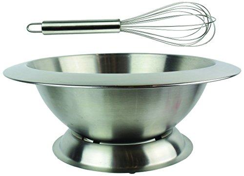 Lily cook Rührschüssel neigbar auf Sockel + Schneebesen-praktisch und Multifunktions-Farbe Edelstahl