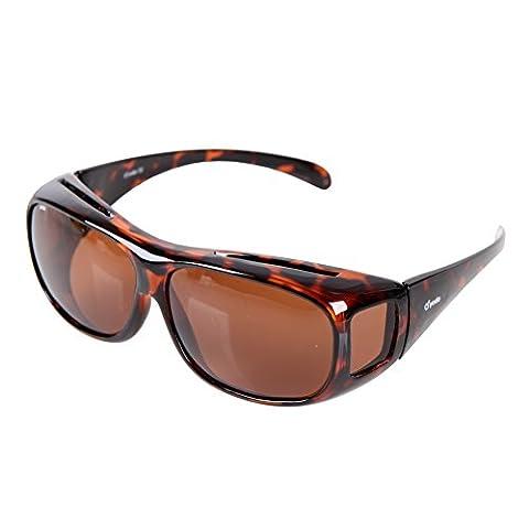 Yodo Fit-over Sonnenbrille Polarisiert für Damen und Herren- Unisex Brille Überbrille, Leopard