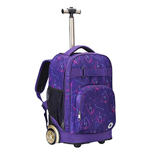 YEXIN Rolling Backpack 18 Zoll für Schulreisen mit Regenschutz, Blue Galaxy (Farbe : Style D) (Schmetterling Rucksack Rolling)