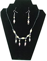 Handmade by Mimi 2 Piece Paper Bead Jewellery Set, Necklace, Bracelet and Earrings