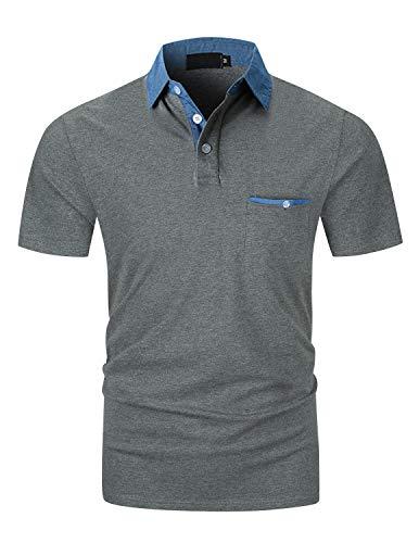 YIPIN Polo da Uomo Manica Corta Denim Collare Basic Golf Poloshirt Casuale Camicia Tennis...