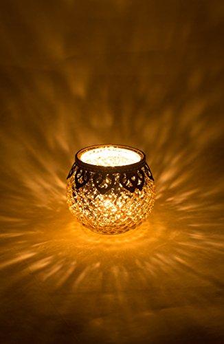 (Home&Decorations 2er Set H&D® Original Windlicht Teelichtglas Rot Gold Silber Antiker Windlichthalter Kerzenglas Glasvase Windlichtglas Laterne Glas Vase Kerze Ø10cm (Gold))