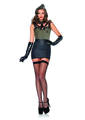 Leg Avenue 85300 - Major Bombshell Kostüm Set, 3-teilig, Größe M, grün (Pin Bombshell)