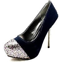 SendIt4Me Silver Embossed High Heel Platform Court Shoes H3Inj4xK