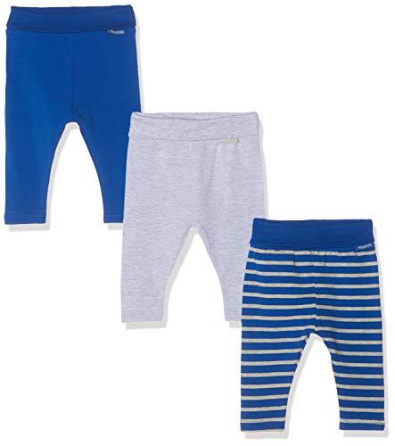 Playshoes Unisex Baby gestreift-Blau-Grau im 3er Pack Leggings, Sortiert 999, 62 (Herstellergröße: 62/68) (erPack 3 Baumwolle Baby-leggings