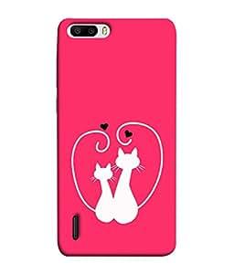 FUSON Designer Back Case Cover for Huawei Honor 6 Plus (Animal Cat Cute Domestic Preety)