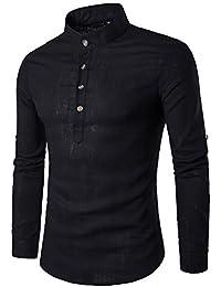 crazyplayer Herren Leinenhemd leinen Shirt Langärmelig Hemden mit  Stehkragen Kurze Knopfleiste in weiß schwarz… 450b46496c