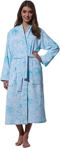 Morgenstern Kimono Bademantel Damen Paisley Muster in Aqua Kimonobademantel Frauensaunamantel Morgenmantel Saunabademantel blau lang weich Gr L