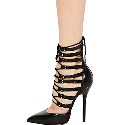 Oasap Black Strappy Office Lady Pointed Toe Stiletto High Heels Black