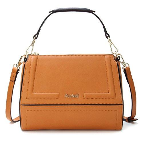 2ecdbadc80d9d Kadell PU Leder Top Griff Tasche für Frauen Kleine Handtasche Frauen  Kuriertaschen Umhängetasche Schwarz Gelb