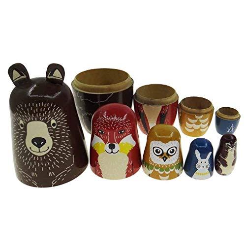 Russische Themen Kostüm - JJSFJH 5 stücke russische Puppe schöne Tier Thema Nesting Dolls for Kinder alle hohl ineinander passen Kinder Weihnachten Geburtstagsgeschenk Hause raumdekoration