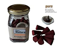 Pure Source India high quality scented (STRAWBERRY) incense dhoop cone 40 pcs and one ceramic cute stand ,packed in squire shape good quality glass jar ,