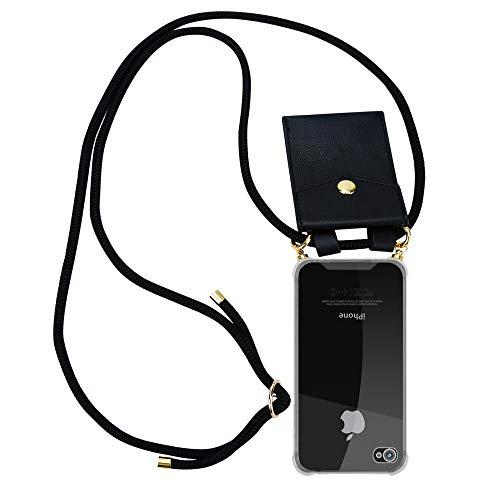Cadorabo Handy Kette für Apple iPhone 4 / iPhone 4S in SCHWARZ - Umhänge Handy Hülle aus transparentem Silikon mit Kordel Schnur und abnehmbarem Etui - Schutzhülle Case Back Cover (Handy-zubehör Für Iphone 4s)