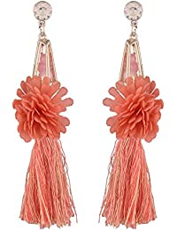 Jazz Stylish Beautiful Orange Color Flower Design Antique Gold Plated Party Wear Charming Long Tassel Fancy Designer...