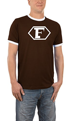 Touchlines Herren Kontrast / Ringer T-Shirt Captain Future Logo, brown/white, XXL, D1061 (Ringer Held)
