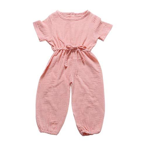 Kurzärmeliger Jumpsuit aus einfarbiger Baumwolle und Leinen für Kinder Toddler Neugeborenes Kinderkleidung Vatertagsgeschenk Unisex Cartoon Print Hosen Outfits ()