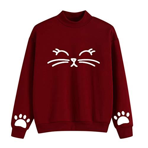 Kolila Damen Cute Katze Druck Hoher Kragen Langarmshirts Winter Warm Plus Velvet Sweatshirt Oberteile Bluse