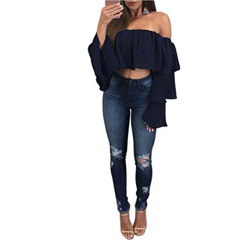 Damen Bluse Dasongff Frauen Schulterfrei Oberteil Elegante Bluse Kurz Tops Langarm-Shirt Casual Trompetenärmel Blusen Lose T-Shirt Tops Blouse (XL, Dunkelblau)