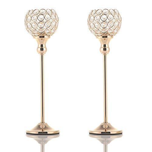 VINCIGANT Gold Kristall Kerzenständer gesetzt für Hochzeit Dekoration Urlaub Feier Geburtstag Geschenk,35cm&35cm Höhe -