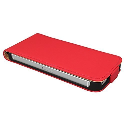 avci Base 4260344989164 Flip PU Simili Étui de protection en cuir pour Apple iPhone 4/4S Rose rouge