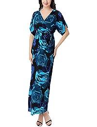 064bfd32e4a5d Abiti Lunghi Donna Estivi Vintage Moda Stampa Fiore Bohemian Vestiti Mare Chic  Ragazza Manica Corta V Scollo Vita Alta Elegante Casual…