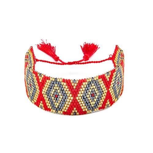 AOTEX Bracelets Bangles for Women Miyuki Beads Mini Hand-Woven Geometric Diamond Fringe Charm Bohemian Adjustable Retro Cute Personality Simple Gift Female@02 - Hand-woven-diamond