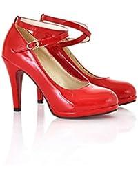 SHINIK Zapatos de mujer de cuero sintético PU Primavera verano Comfort Novedad Zapatos de tacón alto Zapatos de...