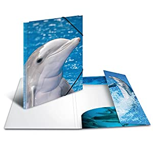 Herma 7141 Document Wallet A4 Plastic Series with Dolphin Motif with Rubber Corners, Pack of 1