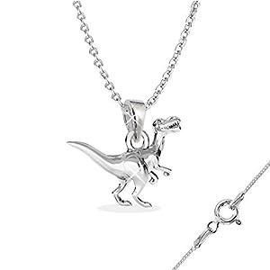 GH1a 3D Dinosaurier ANHÄNGER mit KETTE 925 Echt Silber Dino Geschenkidee