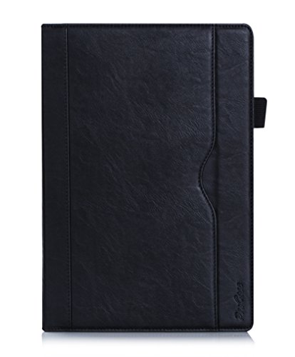 ProCase Lenovo Tab 2 A10 Tasche - Leder Ständer Folio Case Cover für Lenovo Tab 2 A10-70 10-Zoll Tablette, Stütze Auto Sleep/Wake, mit mehrfachen Betrachtungswinkeln, Dokumentenkarte Tasche (Schwarz)