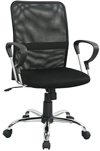 SixBros. Bürostuhl Schreibtischstuhl Drehstuhl Schwarz H-8078F-2/1322