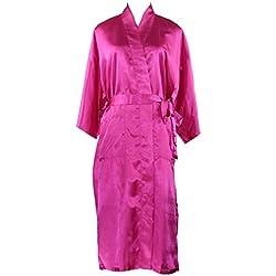 Juleya Babydoll Lencería Camisón Mujeres Sexy Long Faux Seda Kimono Bata Bata de Baño Rose L