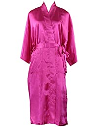 Juleya Babydoll Lencería Camisón Mujeres Sexy Long Faux Seda Kimono Bata Bata ...