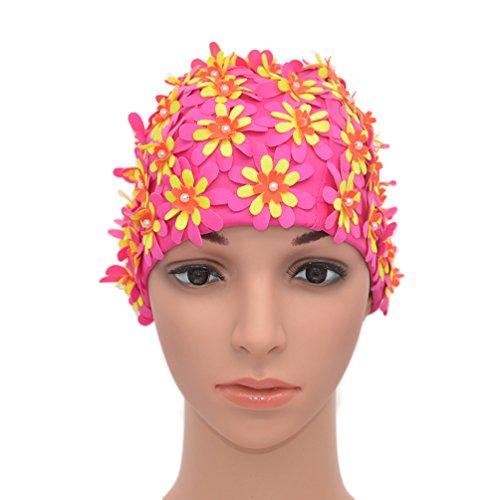 Medifier Badekappe mit Blumenmuster, Retro-Stil, für Damen, rosarot