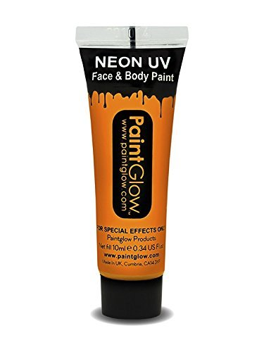 Smiffys - SM45989 - Peinture UV Corps et Visage 10 ml Orange - Taille Unique