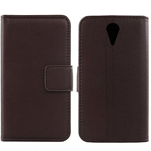 Gukas Design Echt Leder Tasche Für HTC Desire 620 620G / 820 Mini Hülle Handy Flip Brieftasche mit Kartenfächer Schutz Protektiv Genuine Premium Case Cover Etui Skin Shell (Dark Braun)