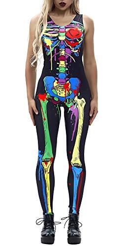 Kostüm Erwachsene Für Skelett Zentai - Loveternal Frauen Halloween Kostüm 3D Skeleton Bodysuit Zip up Overalls Ärmellos Catsuit Cosplay Outfits Bunt Tie Dye Paint X-Ray Bones Stretch Reißverschluss Zentai Party Playsuits S