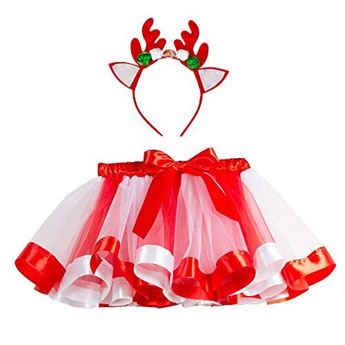 (i-uend Weihnachten Baby Outfits, Mädchen Kinder Tutu Party Ballett Regenbogen Baby Kostüm Rock + Hirsch Stirnband Für 2-11 Jahre)