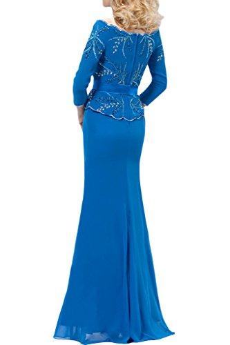 Ivydressing Damen U-Ausschnitt 3/4 Aermel Strass Chiffon Festkleid Mutterkleid Abendkleid Blau