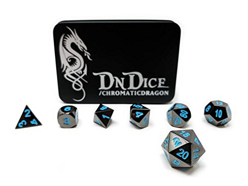 Dark-metal-finish (DnDIce Chromatic Dragon - Solid Metal Poly Dice Set by Available in Dark Chrome & Red, Green or Purple with Dragon Insignia Presentation Tin (Chromatic Dragon Blue))
