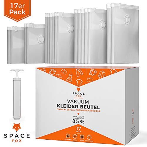 SpaceFox EINFÜHRUNGSANGEBOT - Vakuumbeutel für Kleidung [2019] - 17 TLG. Vakuumier Beutel Set mit Pumpe -